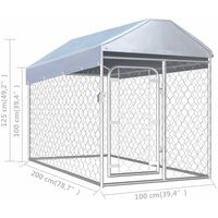 Outdoor Dog Kennel with Roof 200x100x125 cm - Silver