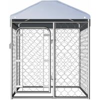 Outdoor Dog Kennel with Roof 100x100x125 cm - Silver