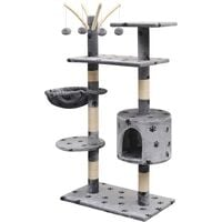 Cat Tree with Sisal Scratching Posts 125 cm Paw Prints Grey - Multicolour