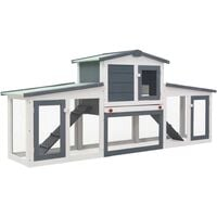 Outdoor Large Rabbit Hutch Grey and White 204x45x85 cm Wood - Grey