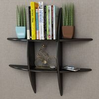 Black MDF Floating Wall Display Shelf Book/DVD Storage - Black