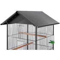 Bird Cage with Roof Black 66x66x155 cm Steel - Black