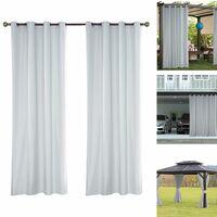 Outdoor curtain water-repellent 1 piece loop curtain white transparent outdoor curtain for balcony / terrace, 137 * 213 cm (54 * 84 inches)