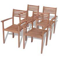 Stackable Garden Chairs 4 pcs Solid Teak Wood - Brown