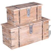Two Piece Storage Chest Set Acacia Wood - Brown