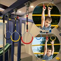 Colorful Gymnastics Swing Rings - 4 Pack Outdoor Play Sets and Playground Equipment for Ninja Course Monkey Ring Climbing Ring Obstacle Ring Kids Boys Girls Swing Toys Set, red + yellow + blue + black