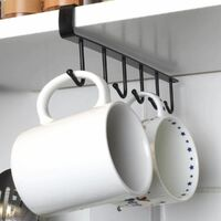 Cup holder, 2 pieces cupboard insert Cup holder hooks without drilling for 12 cups (black)