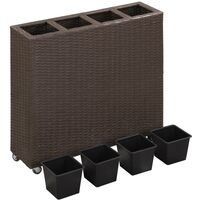 Garden Raised Bed with 4 Pots 80x22x79 cm Poly Rattan Brown - Brown