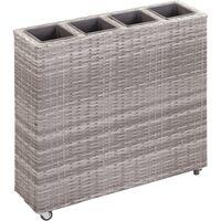 Garden Raised Bed with 4 Pots 80x22x79 cm Poly Rattan Grey - Grey