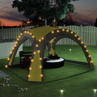 Party Tent with LED and 4 Sidewalls 3.6x3.6x2.3 m Green - Green