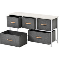 Chest of Drawers Unit Storage Cabinet 5 Drawers Storage Cabinet with Metal Frame Adjustable Feet Hallway Home Dresser