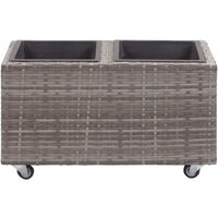 Garden Raised Bed with 2 Pots 60x30x36 cm Poly Rattan Grey - Grey