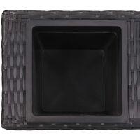 Garden Raised Bed with 3 Pots 100x30x36 cm Poly Rattan Black - Black