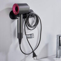 Hair dryer holder, self-adhesive wall mount / puncher for hair dryer for supersonic hair dryer and Dyson accessories, black