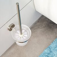 Glass / Stainless Steel Wall Mounted Bathroom Toilet Bowl Brush Holder Rust Resistance Cleaning Tools Toilet Brush Holder