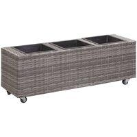 Garden Raised Bed with 3 Pots 100x30x36 cm Poly Rattan Grey - Grey