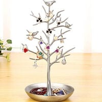 Small Birds Tree Jewelry Earring Necklace Display Stand Jewelry Storage Towers Alloy Tree Display Stand, Silver
