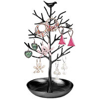 Small Bird Tree Jewelry Earring Necklace Display Stand Jewelry Storage Towers Alloy Tree Display Stand, Black