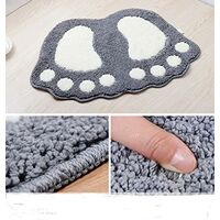 Bath mat anti-slip footprint design bathroom rug Soft bath rug 40 x 60 cm, gray