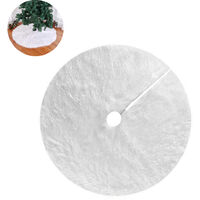 Christmas Tree Skirt Long Hair Christmas Tree Blanket 90CM Christmas Tree Stand Carpet Round White Christmas Tree Blanket