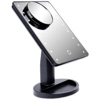 LED make-up mirror BLACK with 10x magnification Make-up mirror with LED make-up mirror with lighting Standing mirror Cosmetic mirror Bathroom mirror Shaving mirror Cosmetic mirror