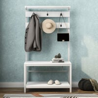 Coat Rack Stand, Industrial Coat Tree, Hall Tree Free Standing, Hall Shoes Rack with Removable Hooks Height 150 cm