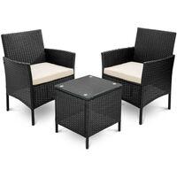 Rattan Garden Furniture Set 3 Piece Patio Outdoor Rattan Patio Set Includes Cushion One Glass Table 1 Year Warranty