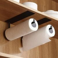 Paper Towel Holder, Wall Mounted Kitchen Paper Holder, Non-Drilled Paper Towel Holders, Metal Kitchen Roll Holder, Self-Adhesive Kitchen Paper Holder, 25cm - Black