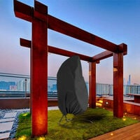 Hanging chair protective cover, floating chair hanging chair cover 190 x 115 cm, waterproof, wind-repellent, winter-proof, balcony outdoor 420D oxford fabric with PVC cover, drawstring, black