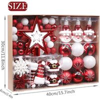 70pcs Christmas Balls, 3-11cm Traditional Red and White Unbreakable Christmas Ball Ornaments Decoration for Christmas Tree Decor