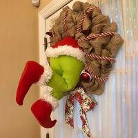 Christmas Thief Burlap Stealer Design Home Front Door Wreath Hoop Xmas Decor Santa Claus Christmas Ornaments 2021 New Year Gifts