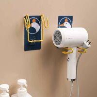 Toilet Hair Dryer Rack Free Punch Wall Hanging Hair Dryer Shelf Bathroom Rack Iron Hair Dryer Storage Rack Round Toot Bear