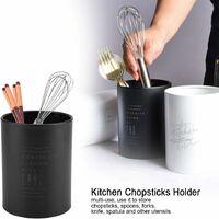 Countertop Kitchen Utensil Holder, Stainless Steel Spoon Fork Chopsticks Storage Organizer, 10 x 10 x 13cm (Black)