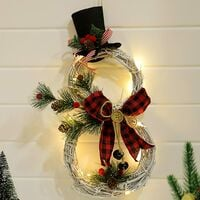 Christmas Decoration Rattan Garland Deco with LED, Snowman Shape, Artificial Christmas Garland, Indoor and Outdoor Christmas Decorations, Christmas Decoration for Door, Wall, Fireplaces (Black + Red)
