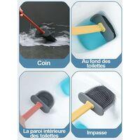 2pcs Toilet Brush, Antibacterial Silicone Toilet Brush Plate Toilet Brush Kit And Holder, Quick Dry Silicone Toilet Brush, Hanging Silicone Toilet Brush Set (Gray + Blue)