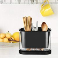 Countertop Kitchen Utensil Holder, Kitchen Utensil Holder with Drainer Kitchen Cutlery Holder (Black)