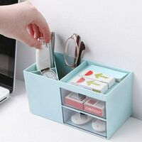 Desk Organizer, Desk Storage with Drawers and Pencil Holder 3 Compartments, 17.5 x 9 x 9cm