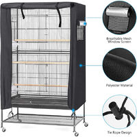 Bird Cage Cover, Waterproof, Large Bird Cage Cover, Washable Parrot Cage Cover, Windproof Dustproof Night Cover for Parrot Cag, black