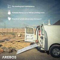 AREBOS Foldable Ramp max. 882 lbs (400 kg) Access Ramp Loading Ramp Folding Platform - silver