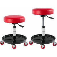 Workshop Stool Adjustable Height Rotating Garage Seat Working Chair With Tray