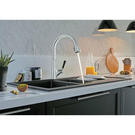 Mischarmatur  Küchenspüder MALderCO Nase  Rohr orientabder und Dusche  tte extractibder 3 junds, JACOB furLAFON, Ref.E562-CP