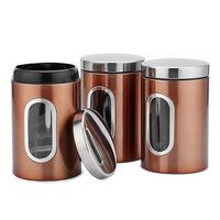 3 montato, serbatoio in acciaio inox, lattine sigillate, tre pezzi te grani caramelle lattine del caffe, marrone