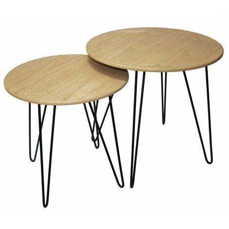 2x Tavolini da caffè design in MDF arredo marrone ...