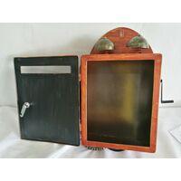 Lettera Post Box Retro Nostalgia Telefono antico Effetto legno Marrone Decorazione da parete da giardino