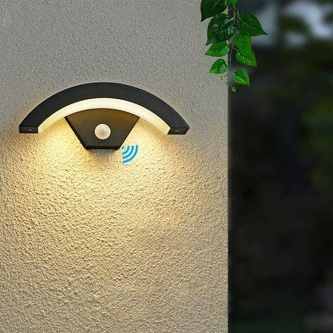 Goeco Applique Murale LED Exterieur avec Capteur de Mouvement, Gris Anthracite 24w 980lm 3000k, Lampe Externe Aluminium Ip54, Lampe Exterieur Pour Villa Porche Passerelle Jardin Balcon Couloir