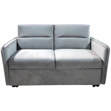 Modern and Versatile Velvet 2 Seater Guest Sofa Bed - Beige