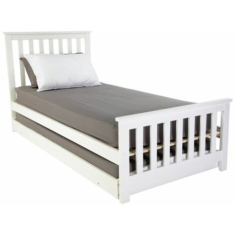 Oxford 3FT Wooden Bed Frame with Pullout Trundle Guest Bed (Frame Only) - White