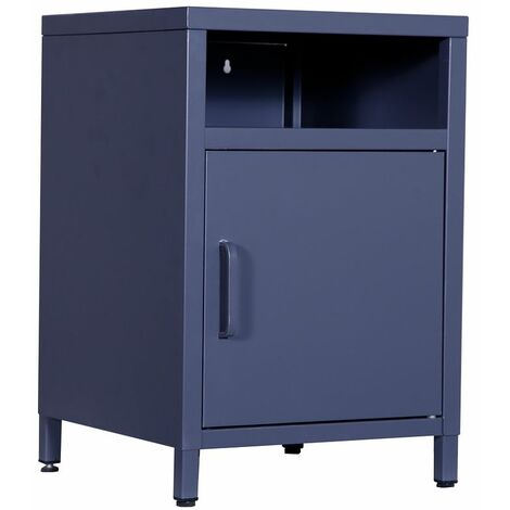 Steel Single Compartment Bedside Table - Grey