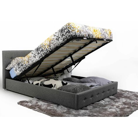 Bath Ottoman Gas Lift Fabric Storage Bed in Grey (Frame Only) - 5FT King
