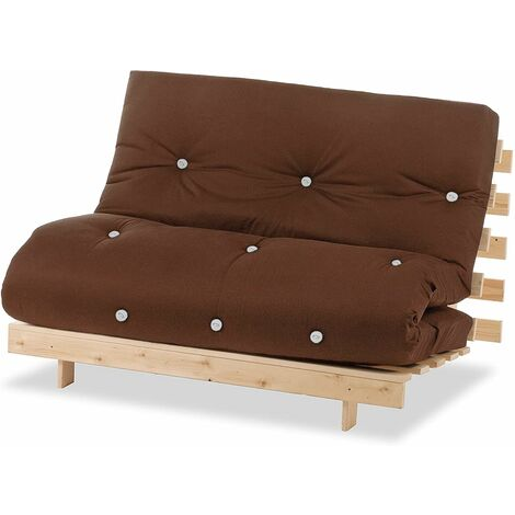 Humza Amani Luxury Natural Pine Wood Metro Futon Sofa Bed Frame and Mattress Set, 2 Seater Small Double - Brown
